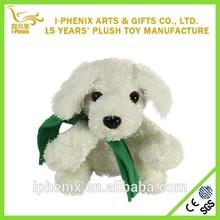 branco recheado de pelúcia mini brinquedo cão do fabricante de china