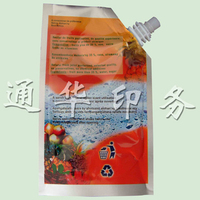 plastic juice packaging bag with spout