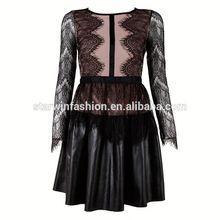 2015 baratos negro vestido de encaje vestido de diseños de venta al por mayor