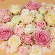 varities handmade silk rose flower head fabric flower wedding backdrop