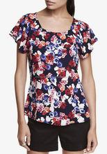 CHEFON Raglan cap flutter sleeve crew neck floral print ladies short sleeve blouses clothes for women