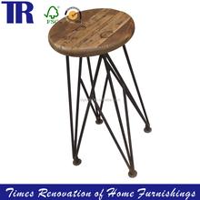 Wood Stool with Metal Leg,Rustic Wood Stool,Antique Stool