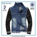 la moda de celebridades ama chaqueta de jean azul con mangas de cuero para los hombres