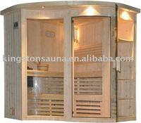 pine home sauna cabin with sauna accessories