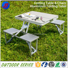 Portable aluminum folding picnic table and chair set