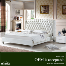 living room furniture white leather bed on sale 1307#