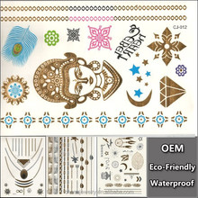 OEM Special Gold Silver Tattoos Jewelry Inspired Tattoo Waterproof Tattoo Feather Stickers Glitter Totem Tats CJ012