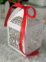 Laser cut sweet wedding box gift box souvenirs box with ribbon- Elite Design quick process free Logo and free ribbon