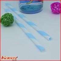 Free ship | Wholesale Food Grade light blue white strip clip straws | BPA free