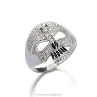 LIXIN 925 sterling silver mirco setting skull man ring (LF07-252IB)