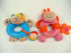 Economic hot-sale plush animated baby rattle toys