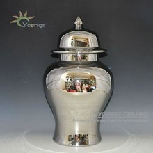 Large Chinese Hand Maded Ceramic Porcelain Silver Plated Ginger Jar