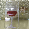Hot sale Liquid red wine glass cell phone case for iPhone 5,glitter diamond case for iPhone 5