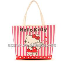 Cute cartoon canvas tote bag for school students hello kitty handbags
