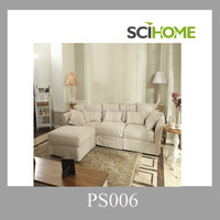 Hot selling royal design loose fabric linen cover L shaped sofa couch furniture