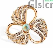 Promosi panas merek high end Bros kristal, Han edisi mewah busana 18 k berlapis emas naik 3 bunga daun fashion perhiasan 6044