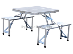 suitcase aluminum folding picnic table with 4 seats portable camping table