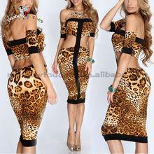 Leopardo preto dos ombros Cut Out modelos vestidos de Viscose