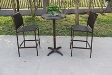 Outdoor rattan furniture wicker bar table and high chair set