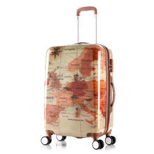 hot selling PC color printed trolley luggage with retractable wheels