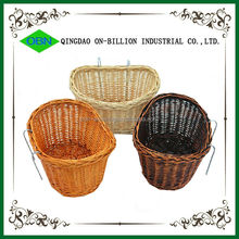 Cheap custom colored handmade removable front willow wicker bike basket