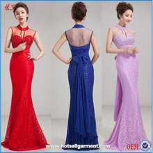 Fashion Long Sequins Formal Evening Lace Dress with Beads Three Color
