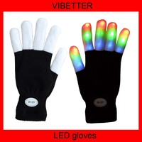 Rave 2014 LED Fingers Flashing Gloves Glow 7 Mode Finger Light Up Glow Mittens DISCO Party Hallowmas Party Decorations