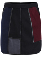 Skirts Bottoms fashion women girl clothes Multicolor Contrast PU Leather Skirt