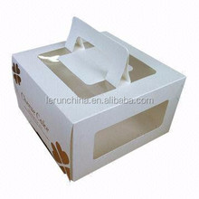 6pcs white with clear plastic window birthday cake box with handle