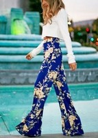 women sexy contrast color flare pants flat midweight panelled print elastic waist fashion cotton polyester loose full length hig