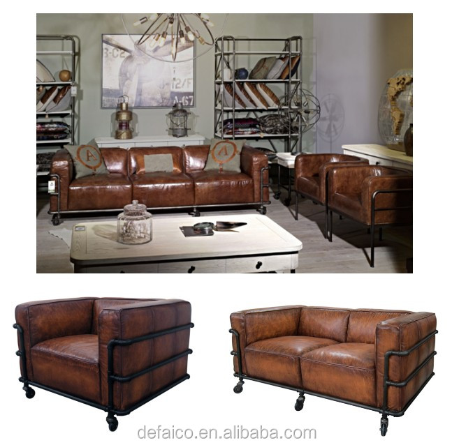 Merveilleux Loft Style Water Pipe Frame Living Room Leather Sofa Sets