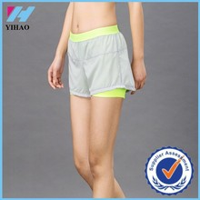 Yihao 2015 New Design Women Fitness Crossfit Dual Shorts Double Color Splicing Gym Shorts Wholesale