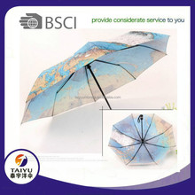 21inch manual open three folding heat transfer umbrella the earth