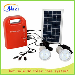 2015 new hot sales 3W rechargeble portable solar power system with mobile phone charge
