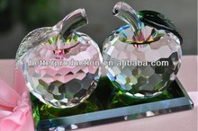 custom clear couple crystal apple for wedding favor,craft,souvenir,gift