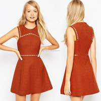 Juhai 8908 Orange colour beaded sleeveless women A-line dress