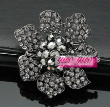crystal stargazer flower corsage bridal brooch