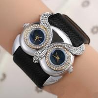 Retro owl shaped fashion double watch face diamond watch,ladies watch(SWTNSXR1204)