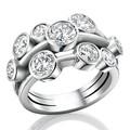 New design ródio 925 anel de prata moda marquise anel