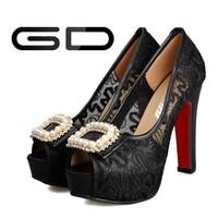 2015 fashion dress girls unique design lace high heel shoes with reinstones