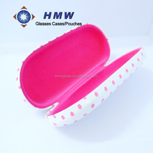 medium size rectangular pink dots printed pu hard case for eyeglasses, metal optical case reading glasses case