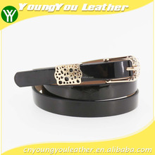 2015 new girls thin fashion pu ladies belt with black leather and gold buckles in Yiwu