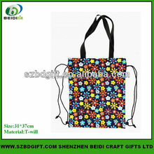 Flowers printing bag with drawstring bands