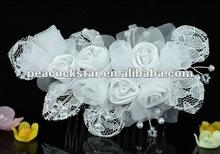 Bridal Wedding Handmade White Rose Fabric Crystal Hair Comb CT1412