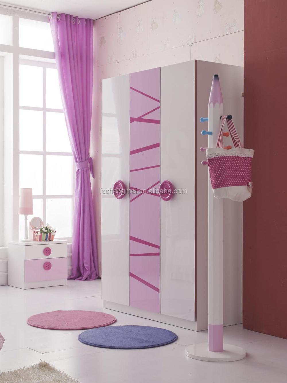 Mooie meisjes kinderen slaapkamer meubilair sets enkel bed 3 deurs ...