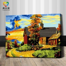 rural scenery oil painting by number kits