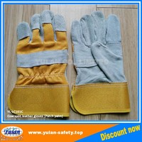 Cheap yellow Cow split leather patch plam work glove, Free Samples