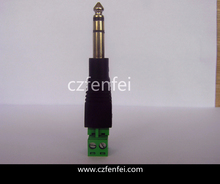 L type solderable screw 6.35mm stereo plug