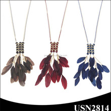 real multi feather three colors thin chain pendant long gold necklace