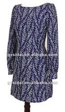 2012 new arrvial high fashion fall winter elegant lady casual print long sleeves dress